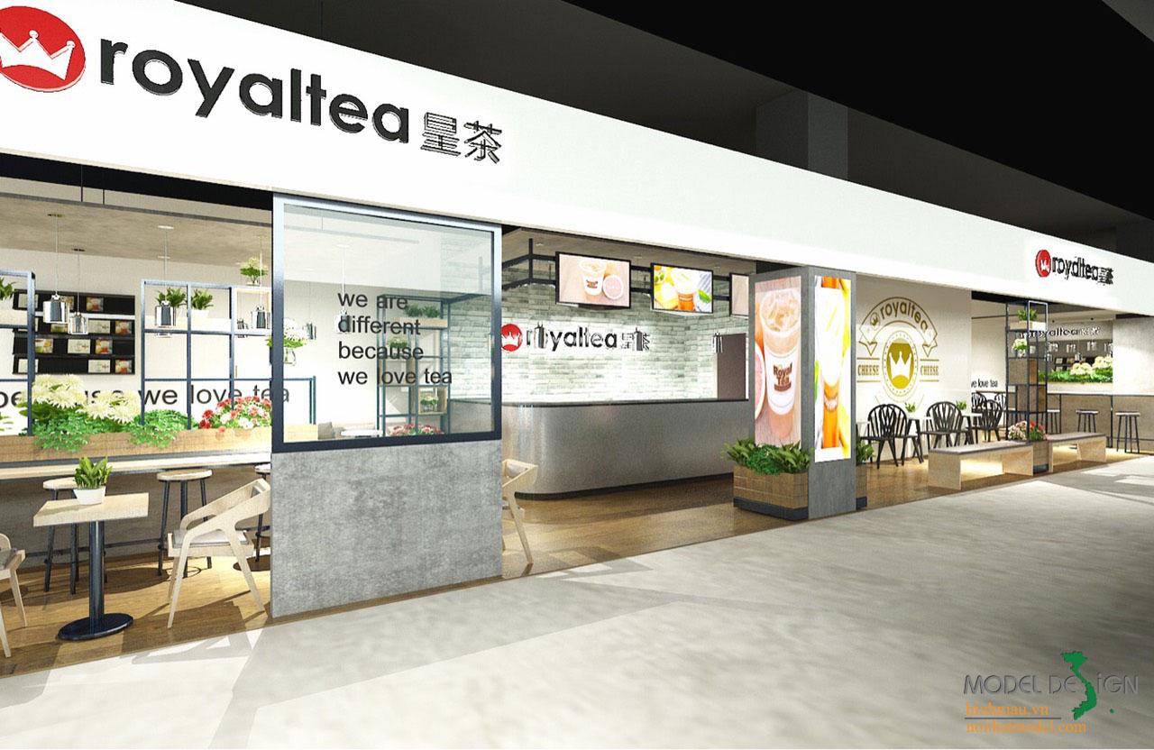 Thiết kế quán trà sữa royatea - Model Design