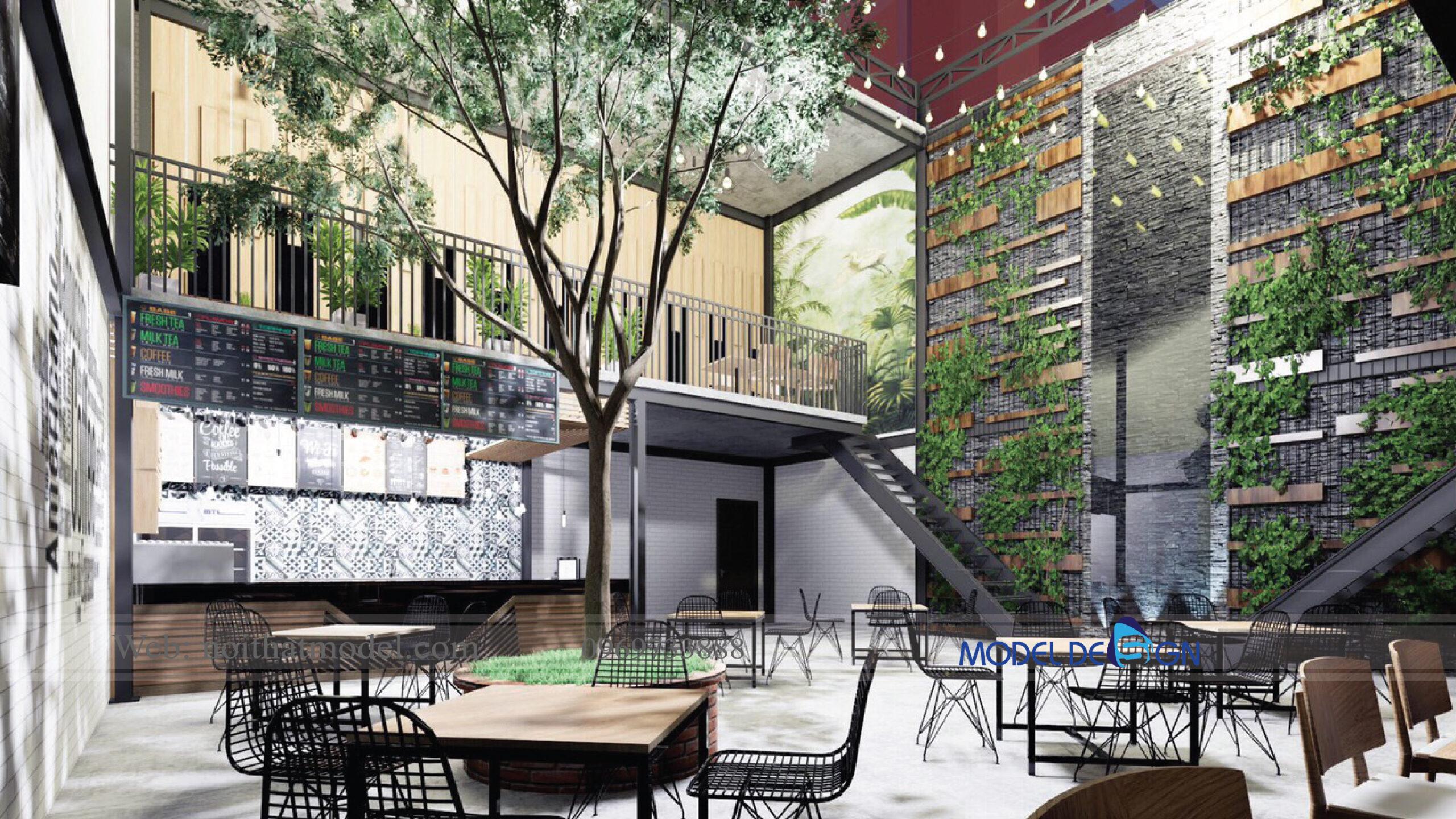 Thiết kế quán cafe Trà sữa nhỏ